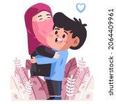 couple hughs each other ... | Shutterstock .eps vector #2064409961