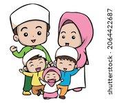muslim happy family cartoon... | Shutterstock .eps vector #2064422687