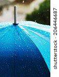 Rain Drops On A Blue Umbrella ...
