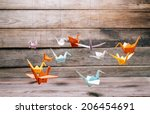 colorful origami paper cranes... | Shutterstock . vector #206454691