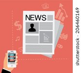 news concept in flat style ... | Shutterstock .eps vector #206460169