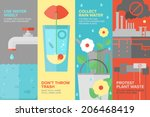 Flat Banner Set Of Reusing And...