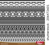 doodle vector linear ornament.... | Shutterstock .eps vector #206472601