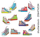 Set Of Sneakers With Pattern...