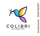 humming bird colorful logo...   Shutterstock .eps vector #2064786587