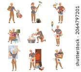 househusband doing daily... | Shutterstock .eps vector #2064797201