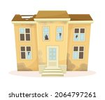 facade of abandoned two storey... | Shutterstock .eps vector #2064797261