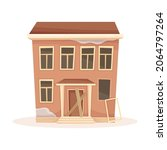 facade of abandoned two storey... | Shutterstock .eps vector #2064797264