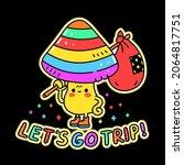 funny cute magic psilocybin... | Shutterstock .eps vector #2064817751