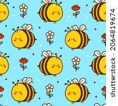 cute funny bee flowers cartoon... | Shutterstock .eps vector #2064819674