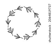 hand drawn wreath with dots.... | Shutterstock .eps vector #2064819737