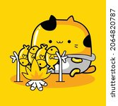 cute cat mascot character... | Shutterstock .eps vector #2064820787
