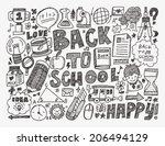 doodle back to school background | Shutterstock .eps vector #206494129