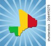 mali map flag on blue sunburst... | Shutterstock .eps vector #206495275
