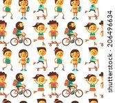seamless pattern sport. vector... | Shutterstock .eps vector #206496634
