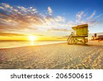 miami south beach sunrise with... | Shutterstock . vector #206500615