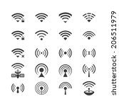 set of vector wireless icons... | Shutterstock . vector #206511979