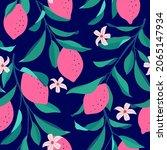 lemon seamless pattern. trendy...   Shutterstock .eps vector #2065147934