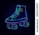 rolling skate neon art logo....   Shutterstock .eps vector #2065153007