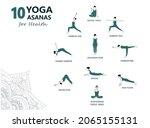 set of 10 yoga asanas for...   Shutterstock .eps vector #2065155131