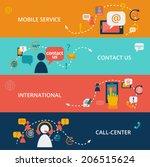set of contact us call center... | Shutterstock .eps vector #206515624