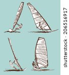 windsurfing sketch set. vector... | Shutterstock .eps vector #206516917