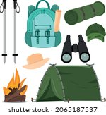 a set of items for hicking....   Shutterstock .eps vector #2065187537