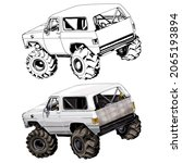 truck car isolated on white...   Shutterstock .eps vector #2065193894