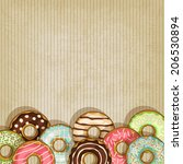 Donut Retro Background  Vector...