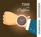 time for coffee concept. a cup... | Shutterstock .eps vector #2065331834