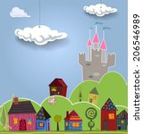 Cartoon landscape with cute little houses. Vector illustration