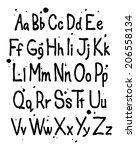 hand written font alphabet.... | Shutterstock .eps vector #206558134