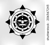 tribal tattoo style vector... | Shutterstock .eps vector #206567245