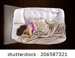 young teenage girl scared alone ... | Shutterstock . vector #206587321