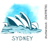 July 19, 2014: Sydney Opera House, Sydney, Australia. World famous landmark series:  watercolor vector illustration - stock vector