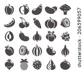 fruits  berries and vegetables... | Shutterstock .eps vector #206599057