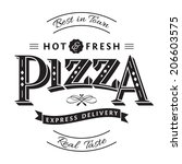 pizza label | Shutterstock . vector #206603575