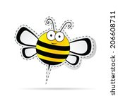 sweet bee cartoon vector...   Shutterstock .eps vector #206608711