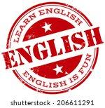 english stamp | Shutterstock .eps vector #206611291