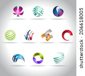 abstract web icons set | Shutterstock .eps vector #206618005