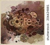 coffee watercolor cartoon hand...   Shutterstock .eps vector #206624881
