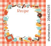 recipe background with kitchen... | Shutterstock .eps vector #206625235