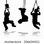 boy gymnastic silhouette   Shutterstock .eps vector #206634421