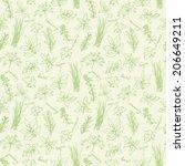 fresh herbs seamless background ... | Shutterstock .eps vector #206649211