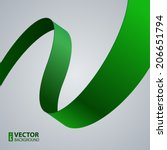 green fabric curved ribbon on... | Shutterstock .eps vector #206651794