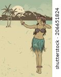 Vintage Hula Girl Dancing On...
