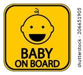 baby on board sign on white... | Shutterstock .eps vector #206651905