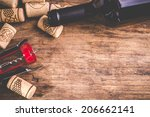 wine corks bottle and corkscrew ... | Shutterstock . vector #206662141