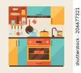card with kitchen interior and... | Shutterstock .eps vector #206677321