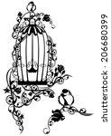 open bird cage twined with rose ... | Shutterstock . vector #206680399